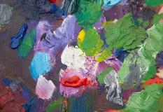Paleta com cursos da pintura Fotografia de Stock Royalty Free