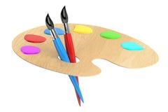 Paleta com escovas, rendição 3D Imagens de Stock