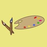 Paleta com uma escova, ícone, cópia, logotipo Fotos de Stock Royalty Free