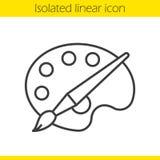 Paleta con el icono linear del cepillo Fotos de archivo libres de regalías