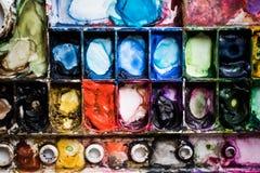 A paleta da aquarela é colorida Fim ascendente e macro Fotos de Stock