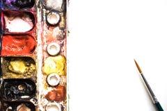 A paleta da aquarela é colorida Fim ascendente e macro Imagem de Stock Royalty Free