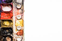 A paleta da aquarela é colorida Fim ascendente e macro Fotografia de Stock Royalty Free