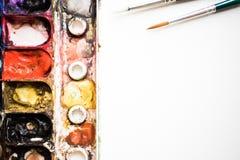 A paleta da aquarela é colorida Fim ascendente e macro Fotos de Stock Royalty Free