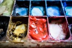 Paleta da aquarela Fim ascendente e macro Imagens de Stock Royalty Free