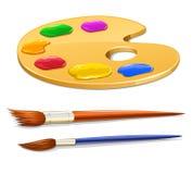 Paleta da arte com pintura e escovas Imagem de Stock