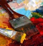 Paleta da pintura a óleo dos artistas Foto de Stock Royalty Free