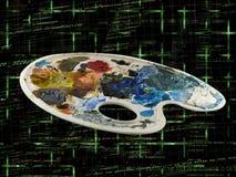 Paleta da pintura dos artistas com código de programação Fotos de Stock
