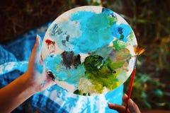 Paleta das pinturas de óleo Fotos de Stock Royalty Free