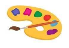 Paleta das pinturas e da escova para o ícone de tiragem, plano, estilo dos desenhos animados Isolado no fundo branco Ilustração d Foto de Stock