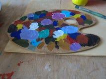 Paleta de colores de aceite Foto de archivo
