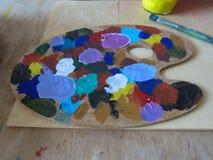 Paleta de colores de aceite Fotografía de archivo libre de regalías