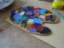 Paleta de colores de aceite Fotografía de archivo