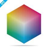 Paleta de colores del vector 1261 diversos colores en pequeños círculos en una forma del hexágono stock de ilustración