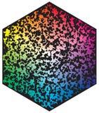 Paleta de colores del vector Muchos diversos c?rculos de color en la forma del modelo del hex?gono ilustración del vector