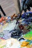 Paleta de colores y pintura Fotos de archivo