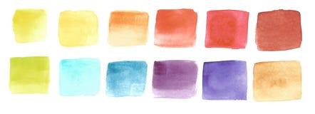 Paleta de colores de 12 sombras, ejemplo de la acuarela de la trama fotos de archivo libres de regalías