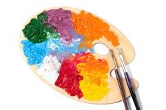 Paleta de cores com pinturas multi-coloridas Fotografia de Stock