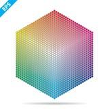 Paleta de cores do vetor 1261 cores diferentes em c?rculos pequenos em uma forma do hex?gono ilustração royalty free
