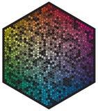 Paleta de cores do vetor Muitos c?rculos de cor diferentes na forma do teste padr?o do hex?gono ilustração royalty free