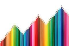 Paleta de cores feita de lápis coloridos fotografia de stock