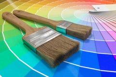 Paleta de cores - guia de amostras da pintura e de escovas de pintura 3D rendeu a ilustração Fotografia de Stock