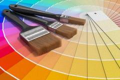 Paleta de cores - guia de amostras da pintura e de escovas de pintura 3D rendeu a ilustração Fotos de Stock Royalty Free