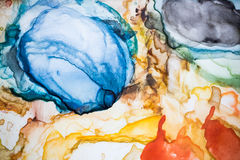 Paleta de la acuarela Añil, rojo, amarillo, roble amarillo cierre ascendente y mA Fotografía de archivo libre de regalías