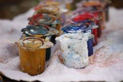 Paleta de la pintura de aceite fotografía de archivo