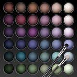 Paleta de las sombras de ojos del vector con el cepillo del maquillaje Foto de archivo libre de regalías