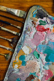 Paleta de pinturas de óleo Imagens de Stock