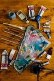 Paleta de pinturas de óleo Fotografia de Stock Royalty Free