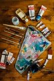 Paleta de pinturas de óleo Fotos de Stock Royalty Free