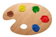 Paleta do artista com cores múltiplas Foto de Stock