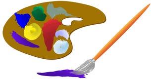 Paleta e escova Imagem de Stock