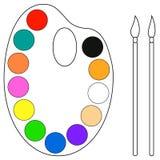 Paleta e escovas Imagem de Stock Royalty Free