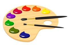 Paleta para artistas com pinturas Imagens de Stock