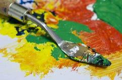 Paleta para las pinturas de petróleo de mezcla Fotografía de archivo libre de regalías