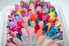 Paleta para o verniz Uma paleta de cores para o verniz Uma paleta de cores do verniz na loja de beleza Fotografia de Stock Royalty Free