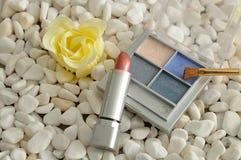 Paleta z błękitnymi cieniami cień, muśnięcie i pomadka oka, Zdjęcia Stock