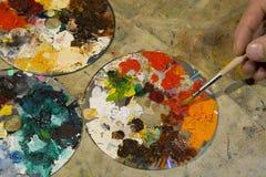 Paletas com escova Foto de Stock Royalty Free