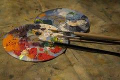 Paletas con el cepillo Imagen de archivo