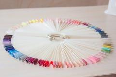 Paletas con el esmalte de uñas Variedad de cuidado del clavo Fotos de archivo libres de regalías
