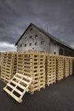 Paletas na frente do moinho da madeira Imagens de Stock