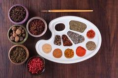 Paletkleuren van kruiden en kruiden Royalty-vrije Stock Afbeeldingen