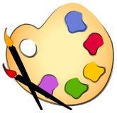 palett för konstgempaintbrush Royaltyfria Foton