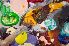 palett för konstmålarfärgpaintbrush Royaltyfria Foton