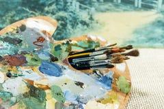 Palett för konstnär` s med tofsnärbild royaltyfria foton