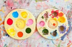 Palett för två vattenfärg Royaltyfria Bilder