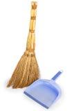 Paletta per la spazzatura del lillà e della scopa Fotografie Stock Libere da Diritti